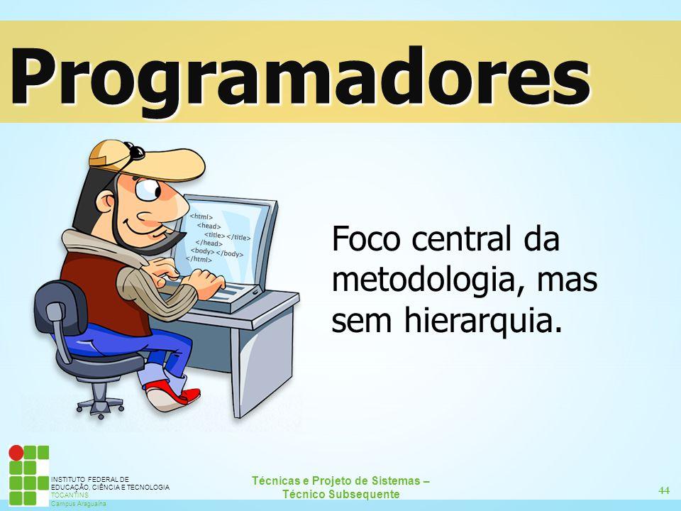 44 Técnicas e Projeto de Sistemas – Técnico Subsequente INSTITUTO FEDERAL DE EDUCAÇÃO, CIÊNCIA E TECNOLOGIA TOCANTINS Campus Araguaína Programadores F