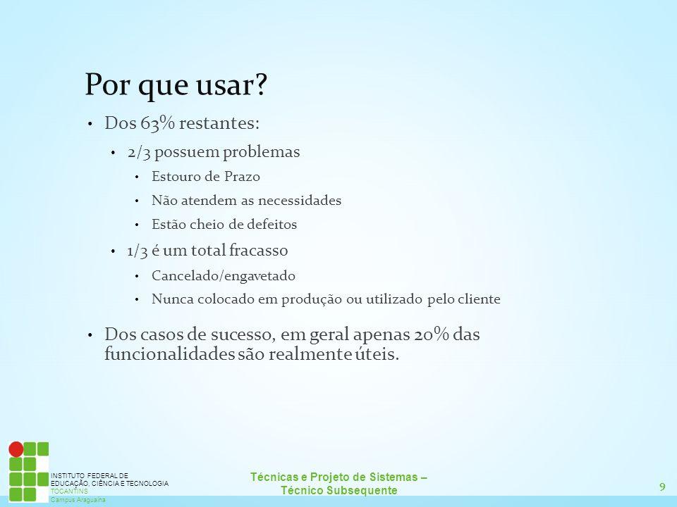 9 Técnicas e Projeto de Sistemas – Técnico Subsequente INSTITUTO FEDERAL DE EDUCAÇÃO, CIÊNCIA E TECNOLOGIA TOCANTINS Campus Araguaína Por que usar? Do