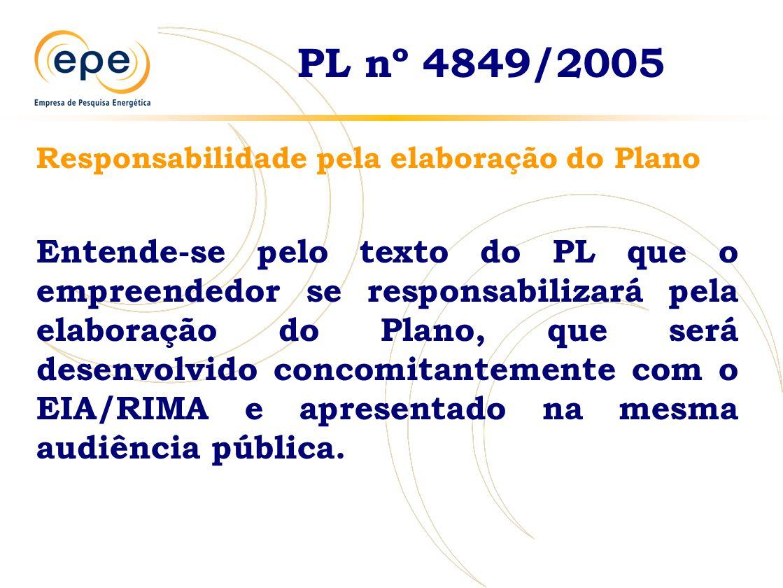 PL nº 4849/2005 Responsabilidade pela elaboração do Plano Entende-se pelo texto do PL que o empreendedor se responsabilizará pela elaboração do Plano, que será desenvolvido concomitantemente com o EIA/RIMA e apresentado na mesma audiência pública.