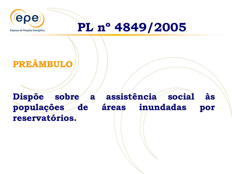 PREÂMBULO Dispõe sobre a assistência social às populações de áreas inundadas por reservatórios. PL nº 4849/2005