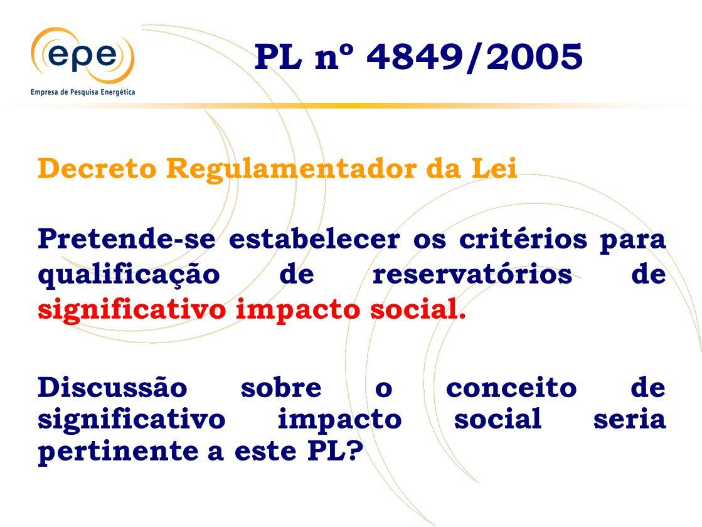 PL nº 4849/2005 Decreto Regulamentador da Lei Pretende-se estabelecer os critérios para qualificação de reservatórios de significativo impacto social.