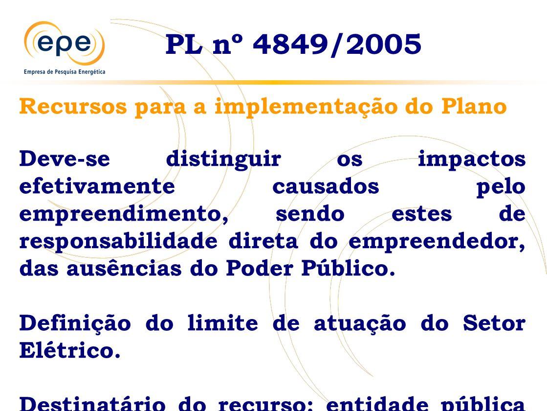 PL nº 4849/2005 Recursos para a implementação do Plano Deve-se distinguir os impactos efetivamente causados pelo empreendimento, sendo estes de responsabilidade direta do empreendedor, das ausências do Poder Público.