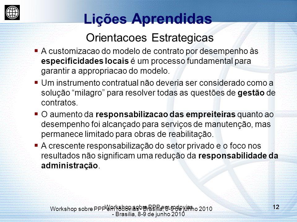 Workshop sobre PPP em rodovias - Brasilia, 8-9 de junho 2010 12 Workshop sobre PPP em rodovias - Brasilia, 8-9 de junho 2010 12 Orientacoes Estrategicas A customizacao do modelo de contrato por desempenho às especificidades locais é um processo fundamental para garantir a appropriacao do modelo.