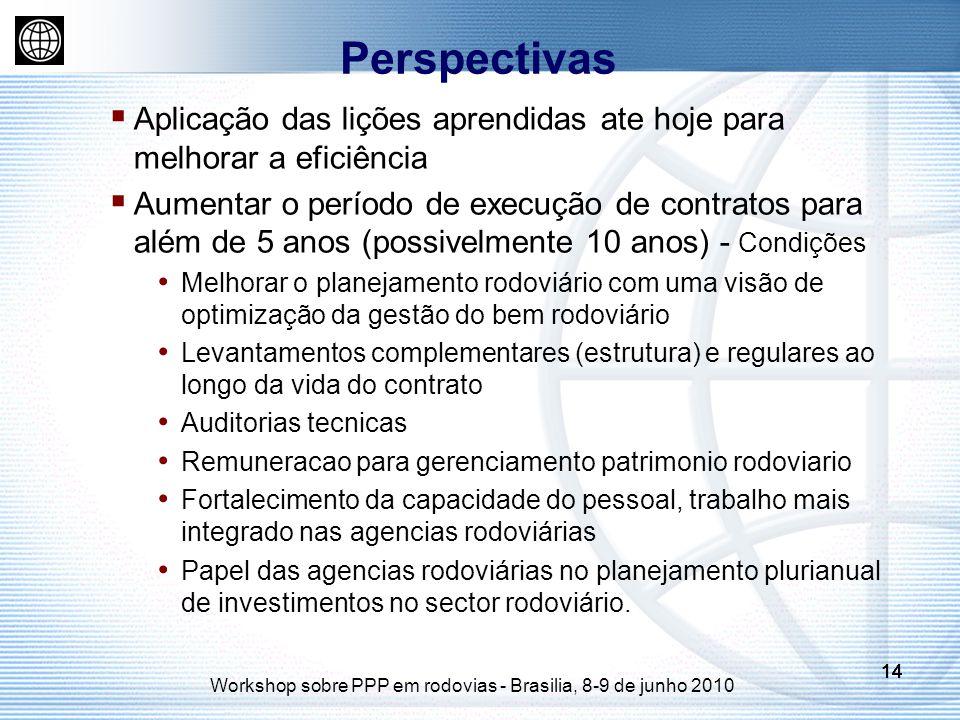 14 Workshop sobre PPP em rodovias - Brasilia, 8-9 de junho 2010 14 Aplicação das lições aprendidas ate hoje para melhorar a eficiência Aumentar o período de execução de contratos para além de 5 anos (possivelmente 10 anos) - Condições Melhorar o planejamento rodoviário com uma visão de optimização da gestão do bem rodoviário Levantamentos complementares (estrutura) e regulares ao longo da vida do contrato Auditorias tecnicas Remuneracao para gerenciamento patrimonio rodoviario Fortalecimento da capacidade do pessoal, trabalho mais integrado nas agencias rodoviárias Papel das agencias rodoviárias no planejamento plurianual de investimentos no sector rodoviário.