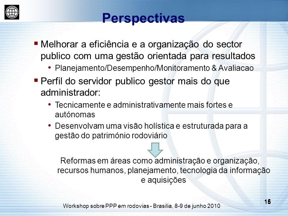 15 Workshop sobre PPP em rodovias - Brasilia, 8-9 de junho 2010 15 Melhorar a eficiência e a organização do sector publico com uma gestão orientada pa