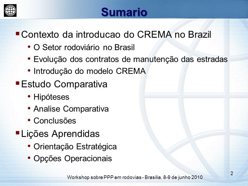 Contexto da introducao do CREMA no Brazil O Setor rodoviário no Brasil Evolução dos contratos de manutenção das estradas Introdução do modelo CREMA Estudo Comparativa Hipóteses Analise Comparativa Conclusões Lições Aprendidas Orientação Estratégica Opções Operacionais Sumario 2 Workshop sobre PPP em rodovias - Brasilia, 8-9 de junho 2010