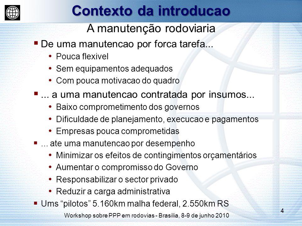 Workshop sobre PPP em rodovias - Brasilia, 8-9 de junho 2010 44 A manutenção rodoviaria De uma manutencao por forca tarefa... Pouca flexivel Sem equip