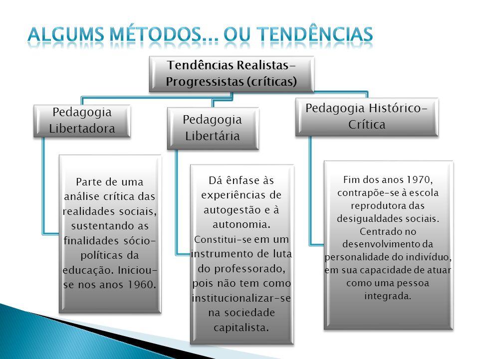 Tendências Realistas- Progressistas (críticas) Pedagogia Libertadora Parte de uma análise crítica das realidades sociais, sustentando as finalidades s
