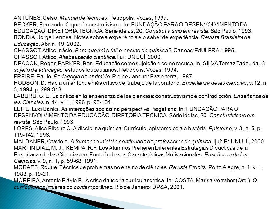 ANTUNES, Celso. Manual de técnicas. Petrópolis: Vozes, 1997. BECKER, Fernando. O que é construtivismo. In: FUNDAÇÃO PARA O DESENVOLVIMENTO DA EDUCAÇÃO