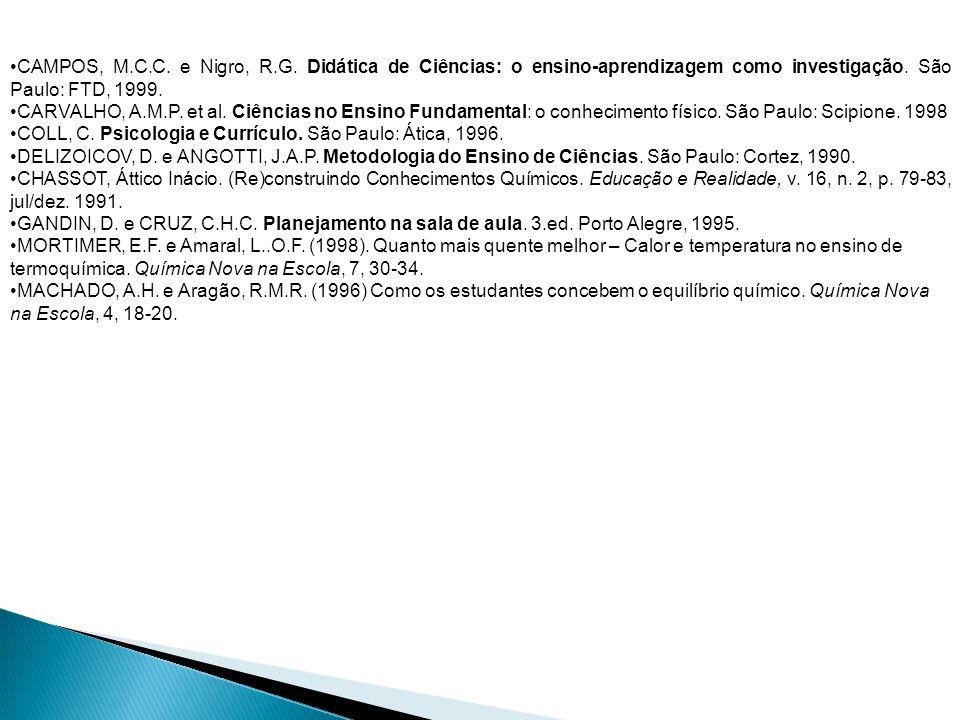 CAMPOS, M.C.C. e Nigro, R.G. Didática de Ciências: o ensino-aprendizagem como investigação. São Paulo: FTD, 1999. CARVALHO, A.M.P. et al. Ciências no