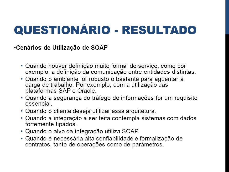 QUESTIONÁRIO - RESULTADO Cenários de Utilização de SOAP Quando houver definição muito formal do serviço, como por exemplo, a definição da comunicação