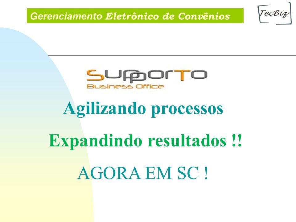 Gerenciamento Eletrônico de Convênios Agilizando processos Expandindo resultados !! AGORA EM SC !