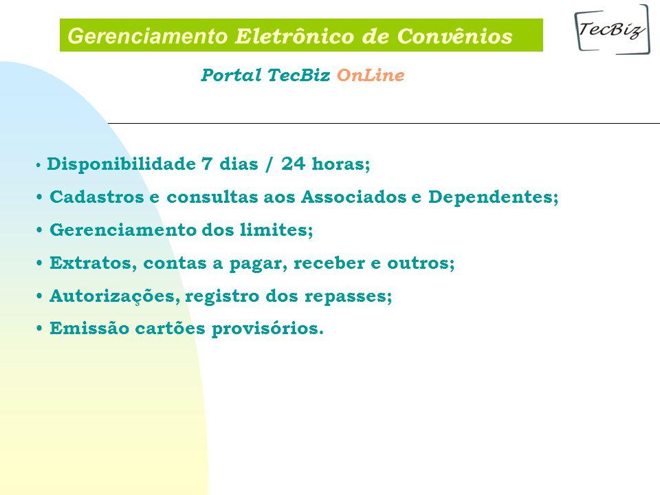 Gerenciamento Eletrônico de Convênios Disponibilidade 7 dias / 24 horas; Cadastros e consultas aos Associados e Dependentes; Gerenciamento dos limites