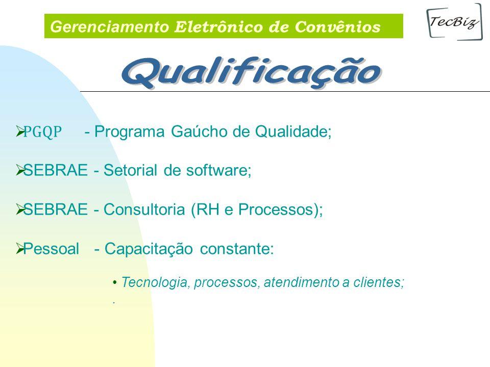 Gerenciamento Eletrônico de Convênios PGQP - Programa Gaúcho de Qualidade; SEBRAE - Setorial de software; SEBRAE - Consultoria (RH e Processos); Pesso
