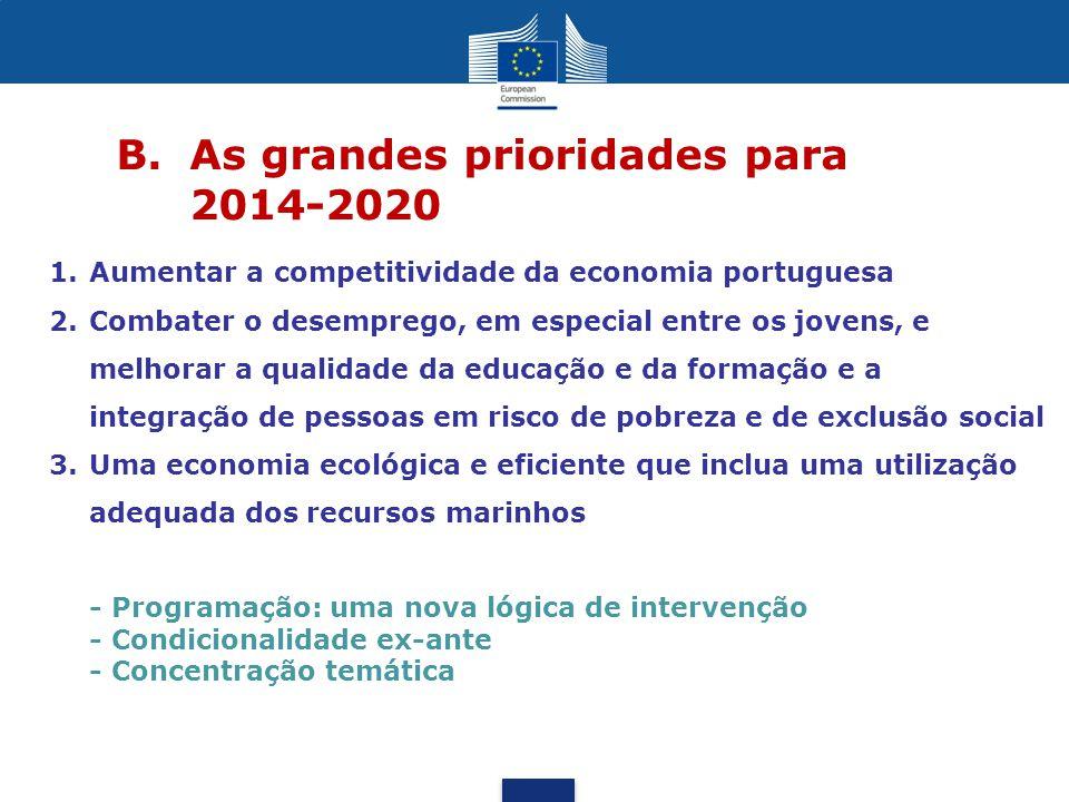 B. As grandes prioridades para 2014-2020 - Programação: uma nova lógica de intervenção - Condicionalidade ex-ante - Concentração temática 1.Aumentar a