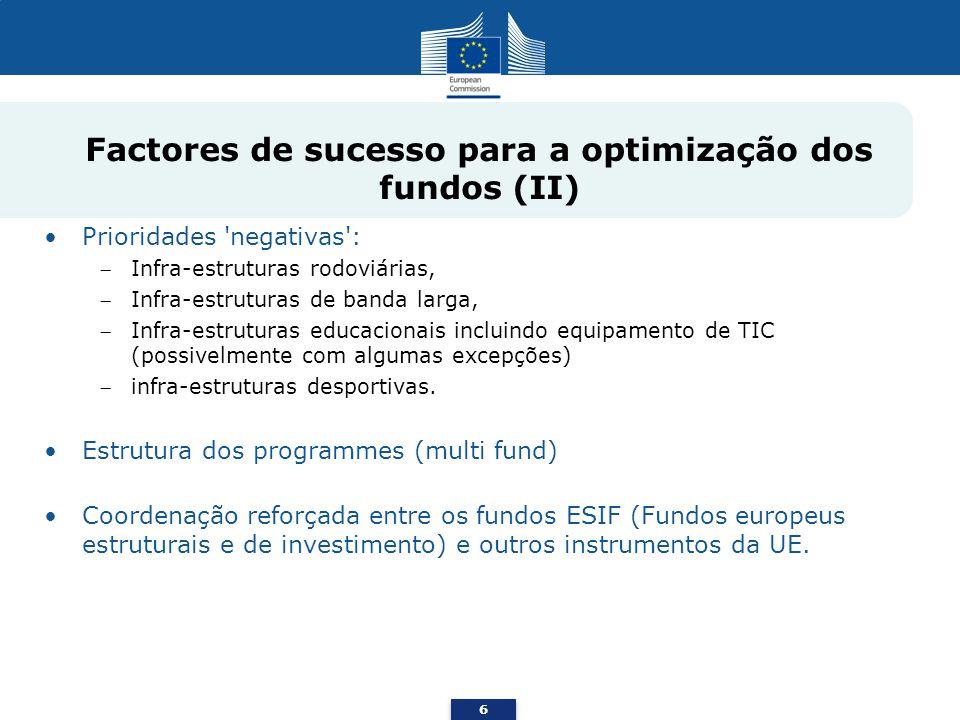 Prioridades 'negativas': Infra-estruturas rodoviárias, Infra-estruturas de banda larga, Infra-estruturas educacionais incluindo equipamento de TIC (po