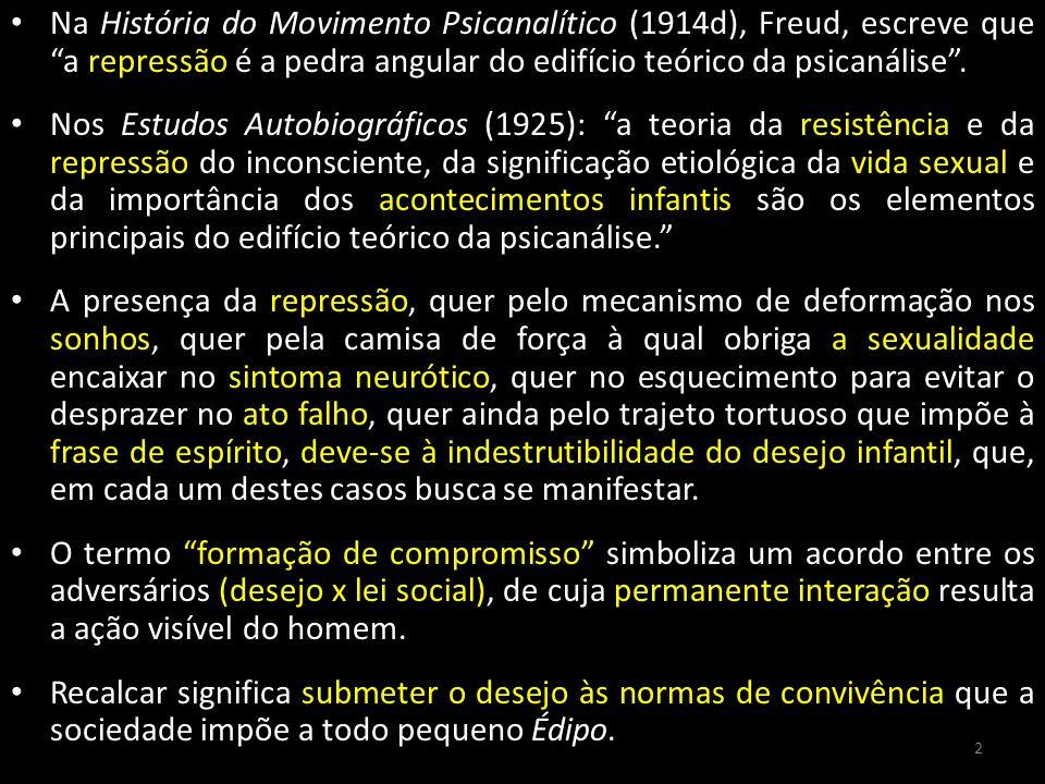 Na História do Movimento Psicanalítico (1914d), Freud, escreve que a repressão é a pedra angular do edifício teórico da psicanálise. Nos Estudos Autob