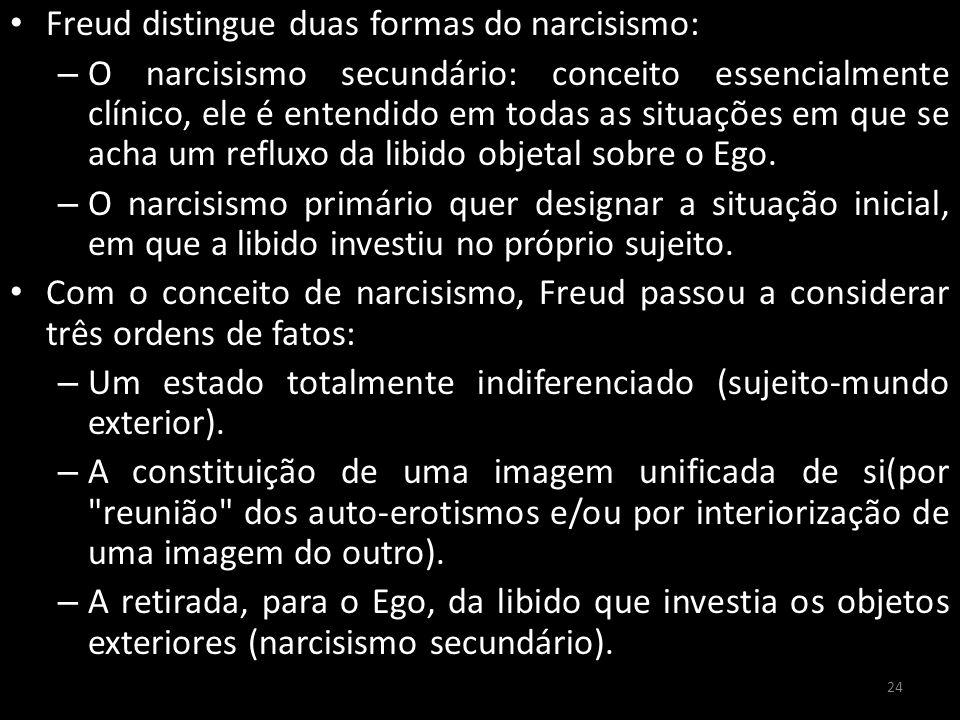 Freud distingue duas formas do narcisismo: – O narcisismo secundário: conceito essencialmente clínico, ele é entendido em todas as situações em que se