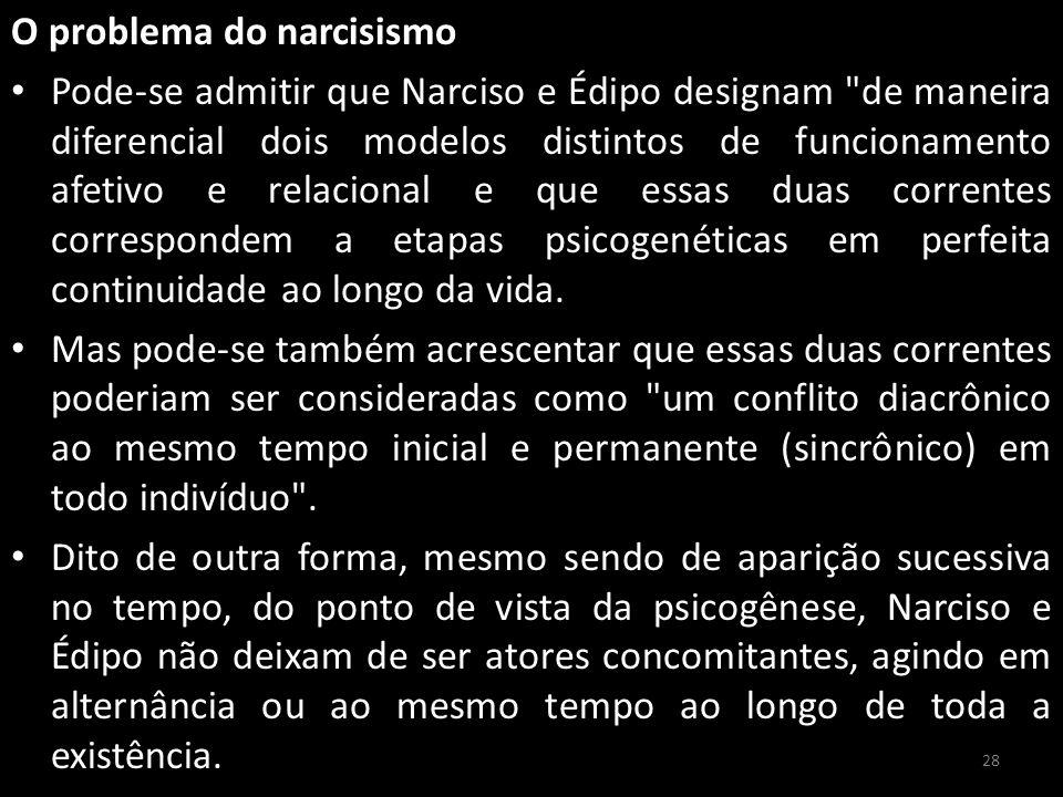 O problema do narcisismo Pode-se admitir que Narciso e Édipo designam