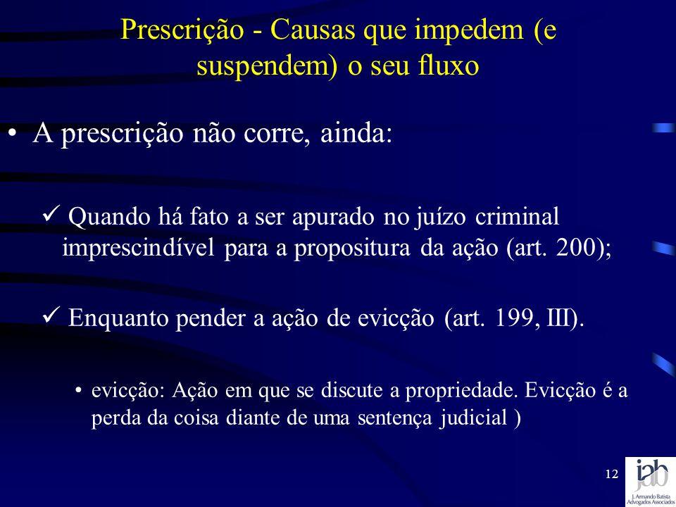 12 A prescrição não corre, ainda: Quando há fato a ser apurado no juízo criminal imprescindível para a propositura da ação (art. 200); Enquanto pender