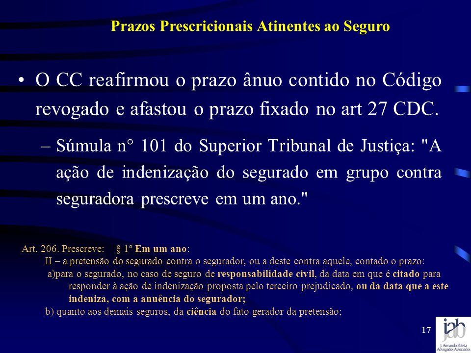17 O CC reafirmou o prazo ânuo contido no Código revogado e afastou o prazo fixado no art 27 CDC. –Súmula n° 101 do Superior Tribunal de Justiça: