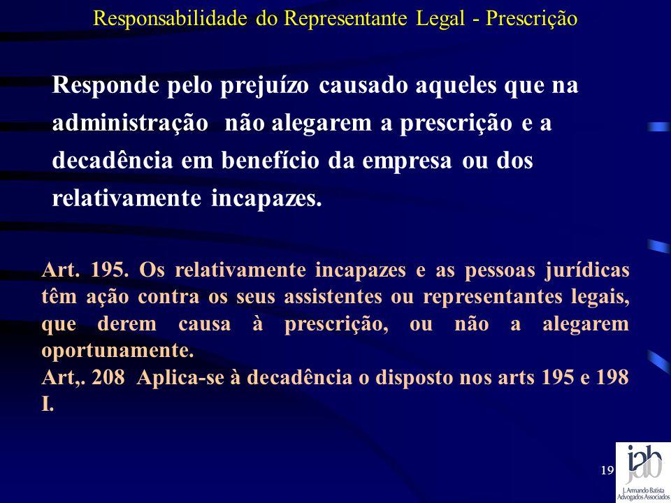 19 Responsabilidade do Representante Legal - Prescrição Art. 195. Os relativamente incapazes e as pessoas jurídicas têm ação contra os seus assistente