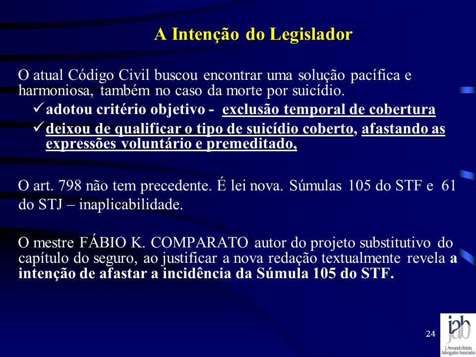24 A Intenção do Legislador O atual Código Civil buscou encontrar uma solução pacífica e harmoniosa, também no caso da morte por suicídio. adotou crit
