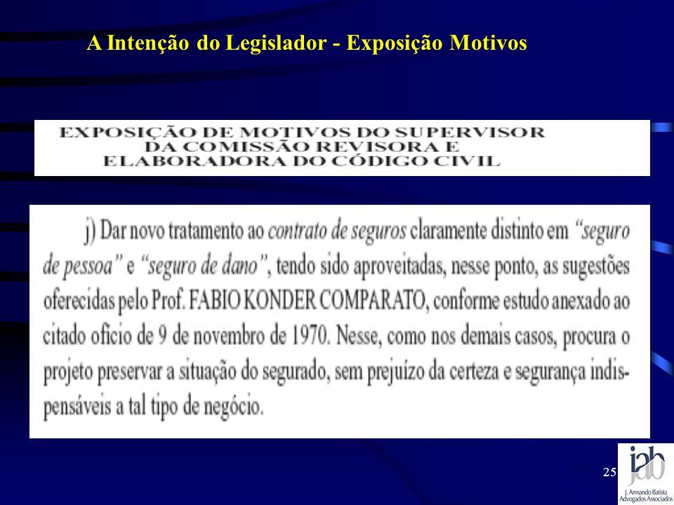 25 A Intenção do Legislador - Exposição Motivos