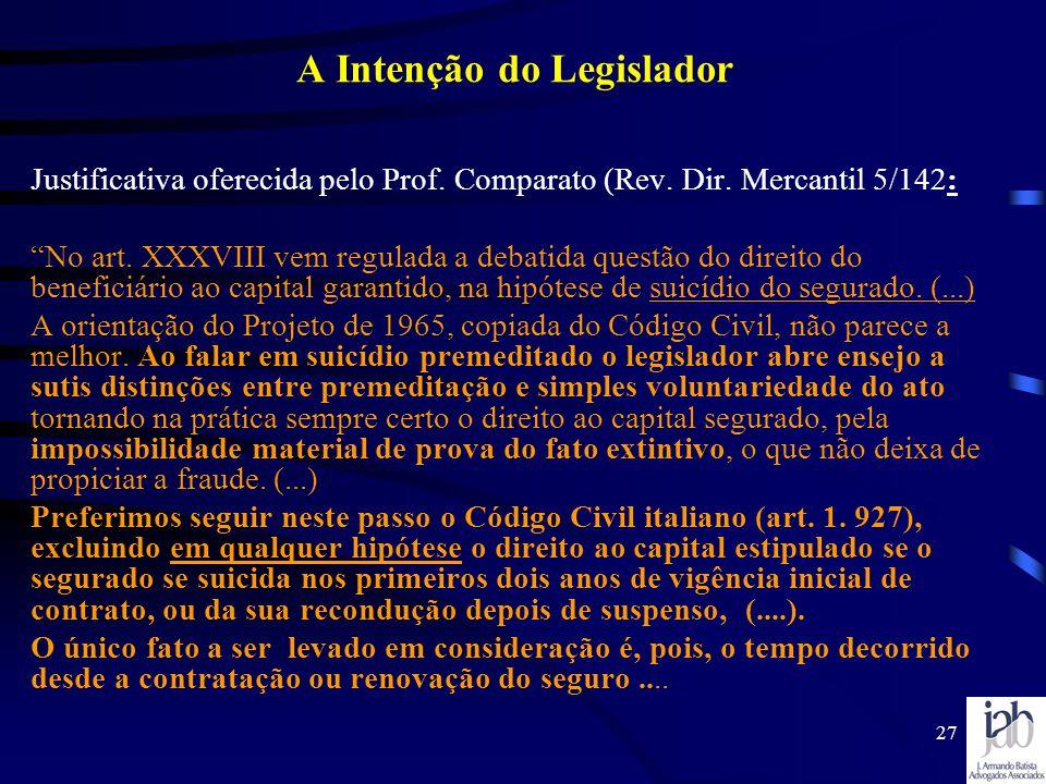 27 A Intenção do Legislador Justificativa oferecida pelo Prof. Comparato (Rev. Dir. Mercantil 5/142: No art. XXXVIII vem regulada a debatida questão d