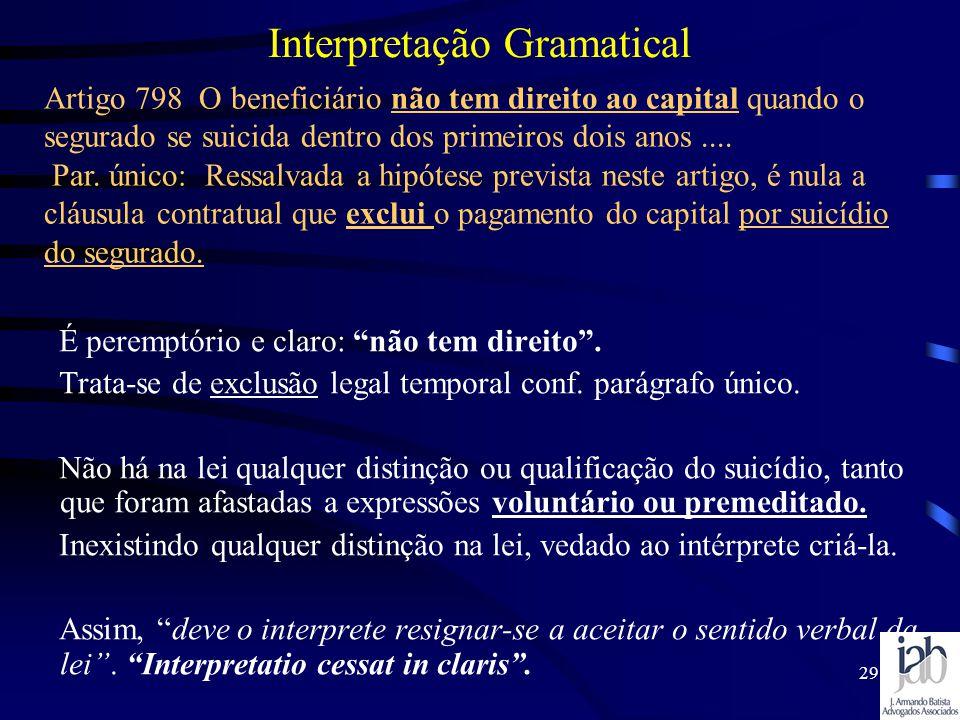 29 Interpretação Gramatical É peremptório e claro: não tem direito. Trata-se de exclusão legal temporal conf. parágrafo único. Não há na lei qualquer