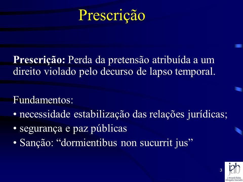 3 Prescrição Prescrição: Perda da pretensão atribuída a um direito violado pelo decurso de lapso temporal. Fundamentos: necessidade estabilização das