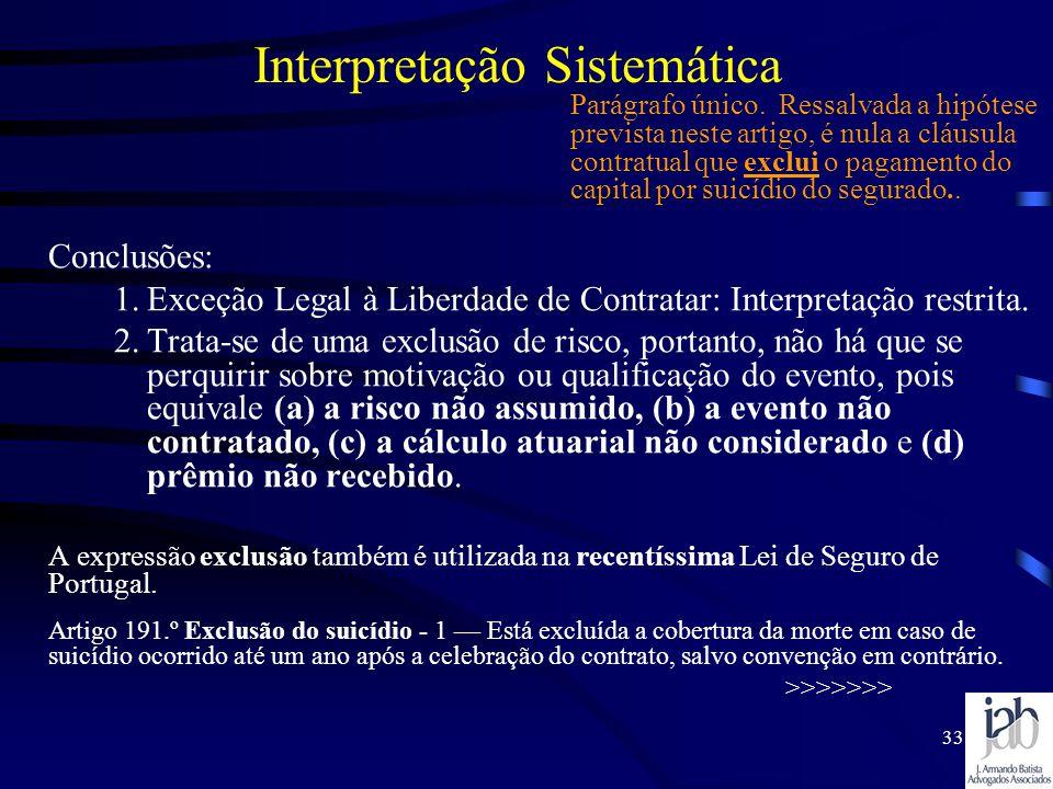 33 Interpretação Sistemática Conclusões: 1.Exceção Legal à Liberdade de Contratar: Interpretação restrita. 2.Trata-se de uma exclusão de risco, portan