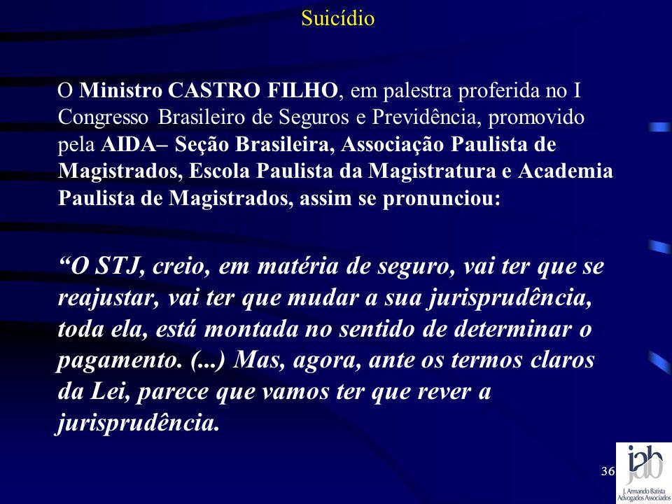 36 O Ministro CASTRO FILHO, em palestra proferida no I Congresso Brasileiro de Seguros e Previdência, promovido pela AIDA– Seção Brasileira, Associaçã