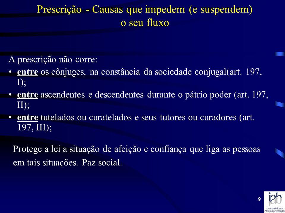 9 Prescrição - Causas que impedem (e suspendem) o seu fluxo A prescrição não corre: entre os cônjuges, na constância da sociedade conjugal(art. 197, I