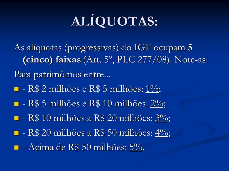 ALÍQUOTAS: As alíquotas (progressivas) do IGF ocupam 5 (cinco) faixas (Art. 5º, PLC 277/08). Note-as: Para patrimônios entre... - R$ 2 milhões e R$ 5