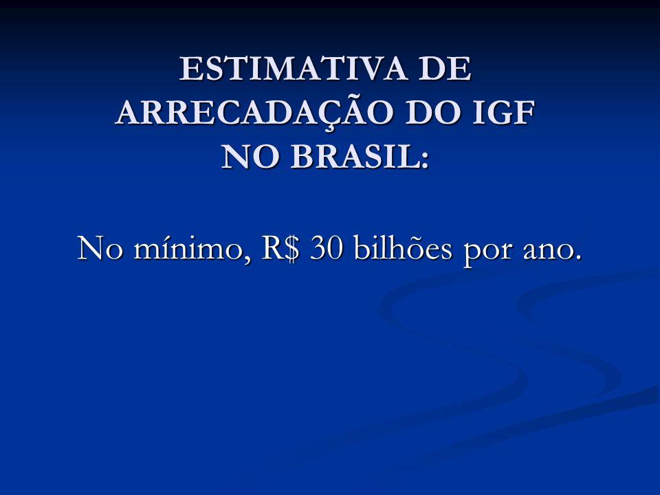 ESTIMATIVA DE ARRECADAÇÃO DO IGF NO BRASIL: No mínimo, R$ 30 bilhões por ano.