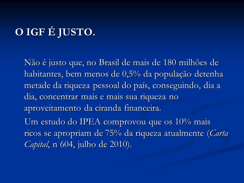 O IGF É JUSTO. Não é justo que, no Brasil de mais de 180 milhões de habitantes, bem menos de 0,5% da população detenha metade da riqueza pessoal do pa