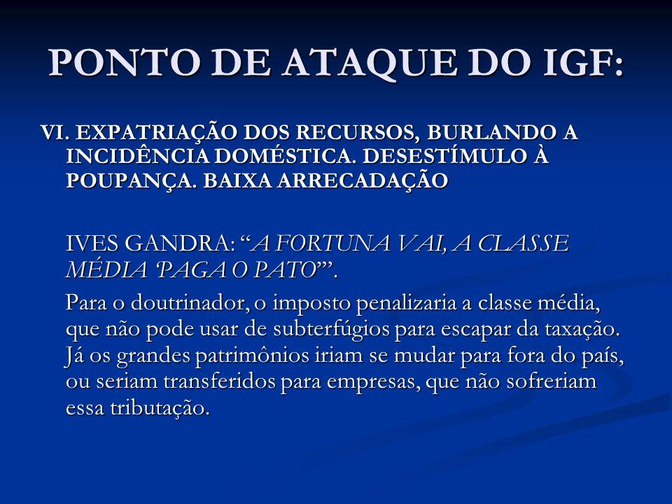 PONTO DE ATAQUE DO IGF: VI. EXPATRIAÇÃO DOS RECURSOS, BURLANDO A INCIDÊNCIA DOMÉSTICA. DESESTÍMULO À POUPANÇA. BAIXA ARRECADAÇÃO IVES GANDRA: A FORTUN
