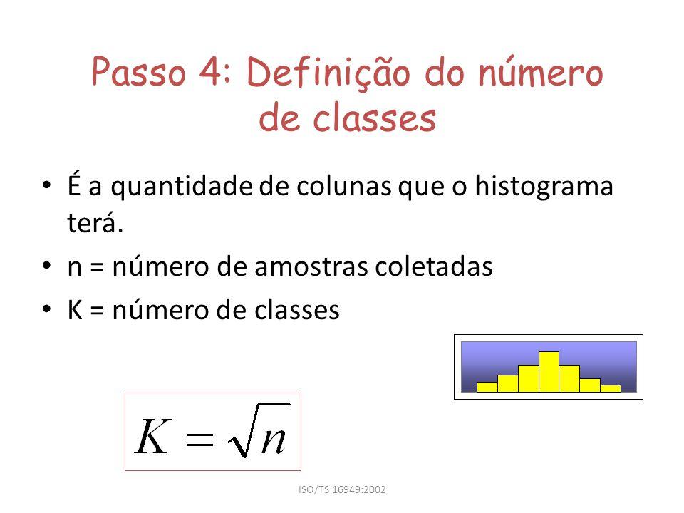 ISO/TS 16949:2002 Passo 5: Cálculo do tamanho das classes h = tamanho das classes R = amplitude K = número de classes h: deve ter a mesma precisão dos dados coletados (mesmo n o de casas decimais).