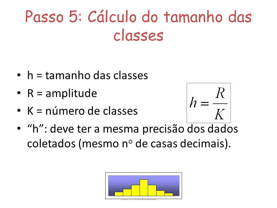 ISO/TS 16949:2002 Passo 5: Cálculo do tamanho das classes h = tamanho das classes R = amplitude K = número de classes h: deve ter a mesma precisão dos