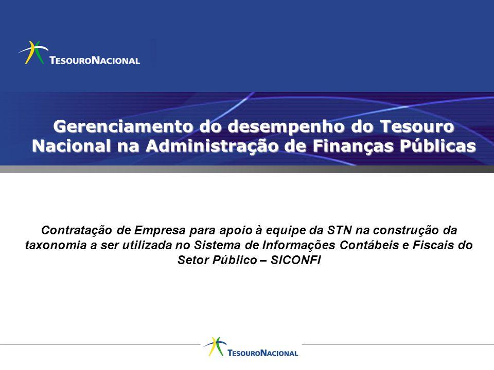 Gerenciamento do desempenho do Tesouro Nacional na Administração de Finanças Públicas Contratação de Empresa para apoio à equipe da STN na construção
