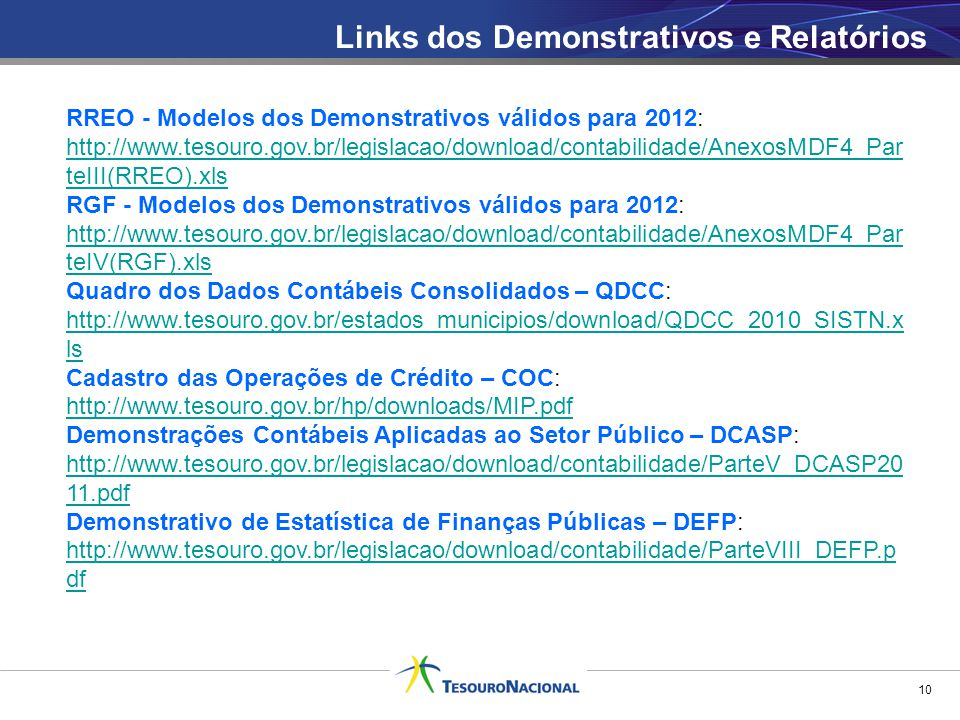 Links dos Demonstrativos e Relatórios 10 RREO - Modelos dos Demonstrativos válidos para 2012: http://www.tesouro.gov.br/legislacao/download/contabilid