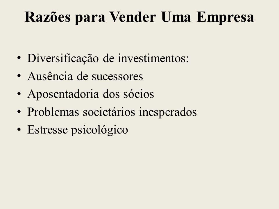 Razões para Vender Uma Empresa Diversificação de investimentos: Ausência de sucessores Aposentadoria dos sócios Problemas societários inesperados Estr
