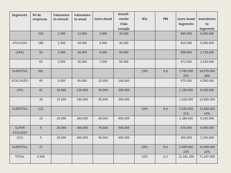 SegmentoNº de empresas Faturamen to mensal Faturamen to anual Lucro Anual Investi- mento Chão Locação R\ePRI Lucro Anual Segmento Investimen to Segmen