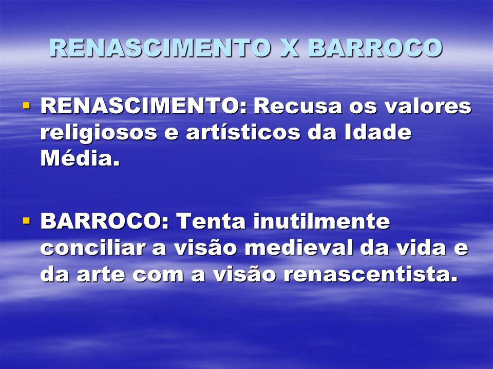 RENASCIMENTO X BARROCO RENASCIMENTO: Recusa os valores religiosos e artísticos da Idade Média. RENASCIMENTO: Recusa os valores religiosos e artísticos