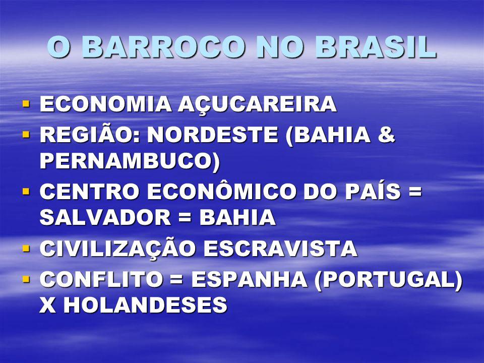 O BARROCO NO BRASIL ECONOMIA AÇUCAREIRA ECONOMIA AÇUCAREIRA REGIÃO: NORDESTE (BAHIA & PERNAMBUCO) REGIÃO: NORDESTE (BAHIA & PERNAMBUCO) CENTRO ECONÔMICO DO PAÍS = SALVADOR = BAHIA CENTRO ECONÔMICO DO PAÍS = SALVADOR = BAHIA CIVILIZAÇÃO ESCRAVISTA CIVILIZAÇÃO ESCRAVISTA CONFLITO = ESPANHA (PORTUGAL) X HOLANDESES CONFLITO = ESPANHA (PORTUGAL) X HOLANDESES
