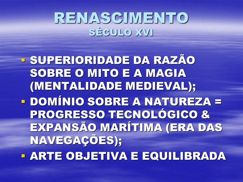 RENASCIMENTO SÉCULO XVI SUPERIORIDADE DA RAZÃO SOBRE O MITO E A MAGIA (MENTALIDADE MEDIEVAL); SUPERIORIDADE DA RAZÃO SOBRE O MITO E A MAGIA (MENTALIDADE MEDIEVAL); DOMÍNIO SOBRE A NATUREZA = PROGRESSO TECNOLÓGICO & EXPANSÃO MARÍTIMA (ERA DAS NAVEGAÇÕES); DOMÍNIO SOBRE A NATUREZA = PROGRESSO TECNOLÓGICO & EXPANSÃO MARÍTIMA (ERA DAS NAVEGAÇÕES); ARTE OBJETIVA E EQUILIBRADA ARTE OBJETIVA E EQUILIBRADA
