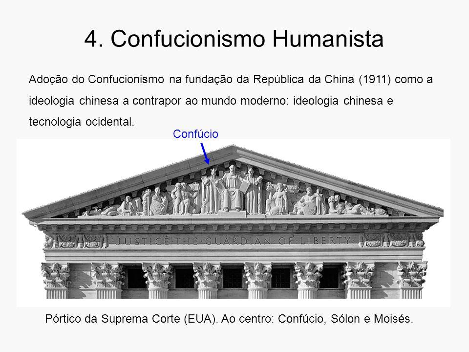 4. Confucionismo Humanista Pórtico da Suprema Corte (EUA). Ao centro: Confúcio, Sólon e Moisés. Adoção do Confucionismo na fundação da República da Ch