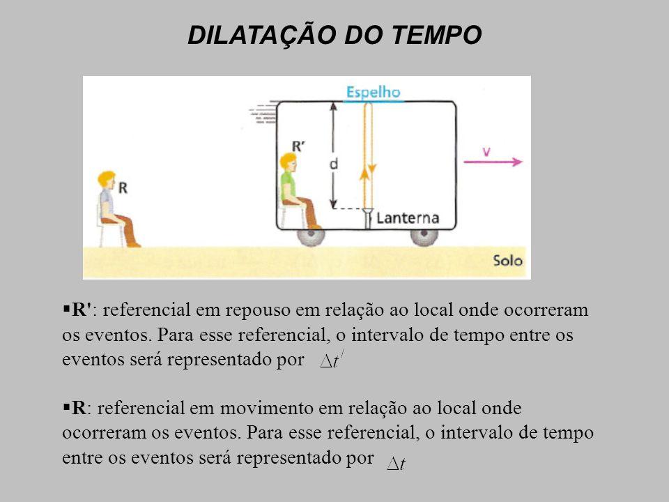 R : referencial em repouso em relação ao local onde ocorreram os eventos.