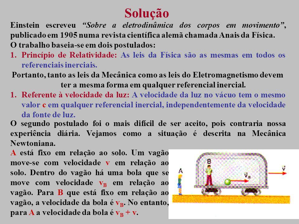 Solução Einstein escreveu Sobre a eletrodinâmica dos corpos em movimento, publicado em 1905 numa revista científica alemã chamada Anais da Física.